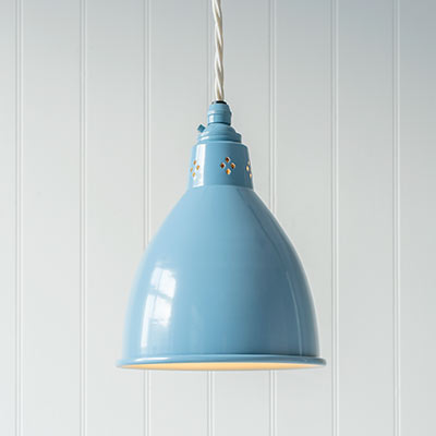 Barbican Pendant Light in Blue (inside Ivory)