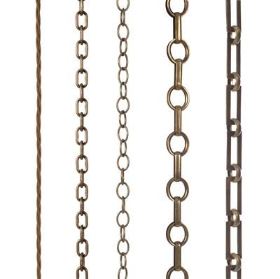 Square Link Chain, 3m Length, Antiqued Brass