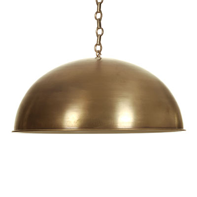 Highgate Pendant Light in Antiqued Brass (inside Ivory)