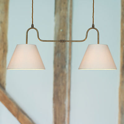 Barchester Double Pendant Light in Antiqued Brass