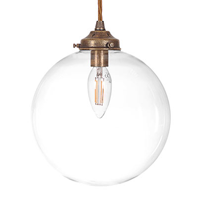 Holborn Glass Pendant Light in Antiqued Brass