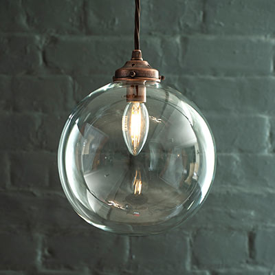 Holborn Glass Pendant Light in Heritage Copper