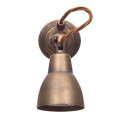 Single Edgeware Spot Light in Antiqued Brass