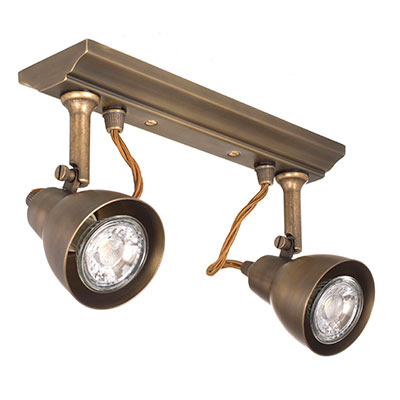 Edgeware Spotlights in Antiqued Brass - 2 Spots