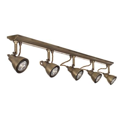 Edgeware Spotlight Strip in Antiqued Brass - 5 Spots