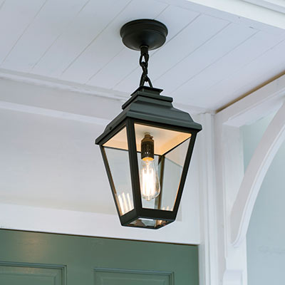 Hackney Outdoor Lantern (Chain Mounted) in Matt Black