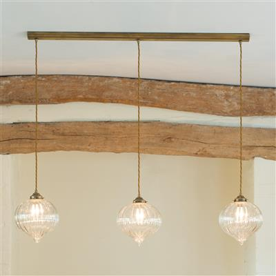 Ava Triple Pendant Track in Antiqued Brass