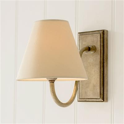 Single Malvern Bathroom Wall Light in Antiqued Brass