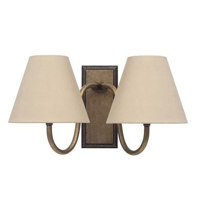 Double Malvern Bathroom Wall Light in Antiqued Brass