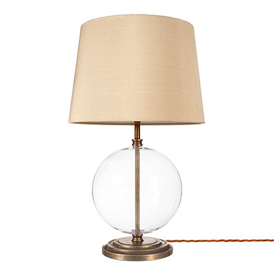 Harleston Table Lamp in Antiqued Brass Plain Glass