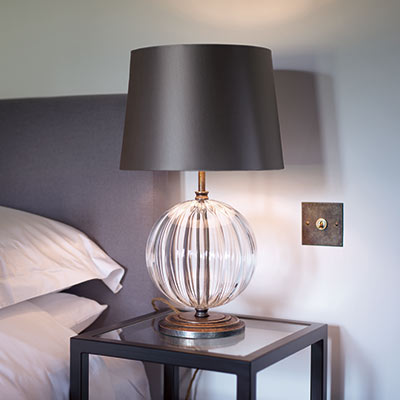 Harleston Table Lamp Antiqued Brass Fluted Glass