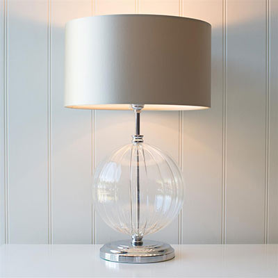 Harleston Table Lamp in Nickel with Fluted Glass