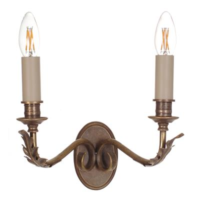 Double Fleur Wall Light in Antiqued Brass