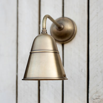 Dalston Outdoor Wall Light in Antiqued Brass