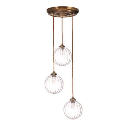 Fulbourn Triple Pendant Rose in Antiqued Brass
