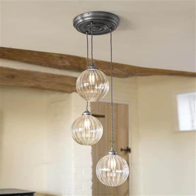 Fulbourn Triple Pendant Rose in Polished