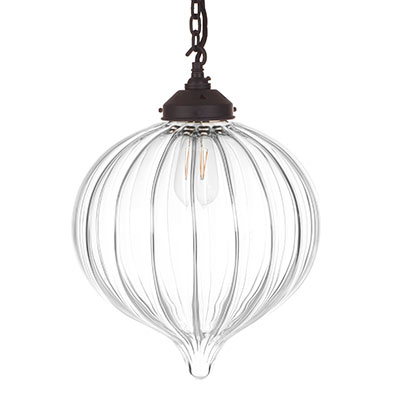 Orla Glass Pendant Light in Matt Black