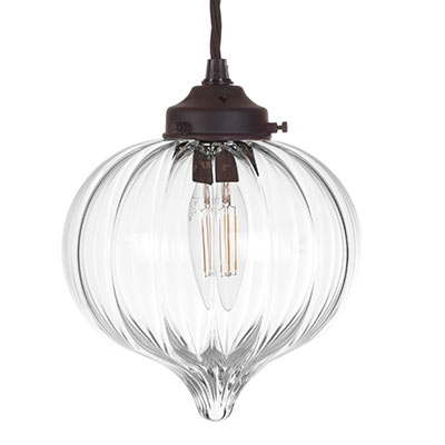 Mia Glass Pendant Light in Matt Black