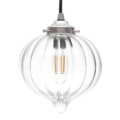 Mia Glass Pendant Light in Nickel