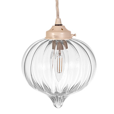 Mia Glass Pendant Light in Plain Ivory