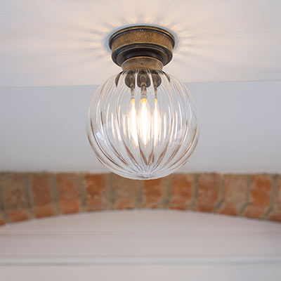 Putney Flush Fitting Ceiling Light in Antiqued Brass