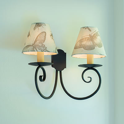 Double Scrolled Wall Light in Beeswax