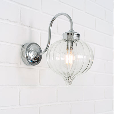 Mia Bathroom/Outdoor Wall Light in Nickel