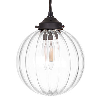 Putney Glass Pendant Light in Matt Black