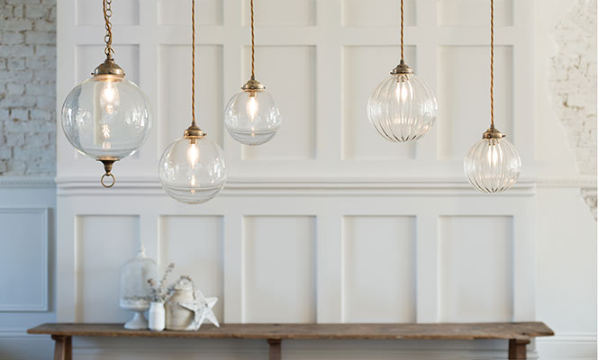 Compton Glass Pendant Light in Antiqued Brass