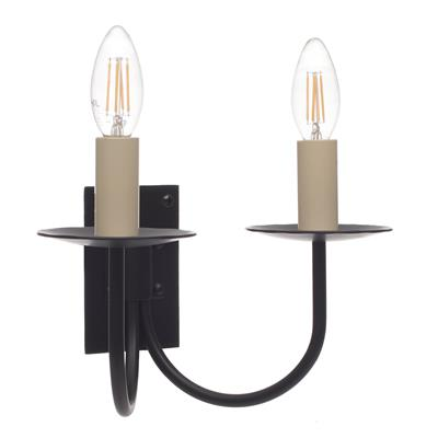 Double Smuggler's Wall Light in Matt Black