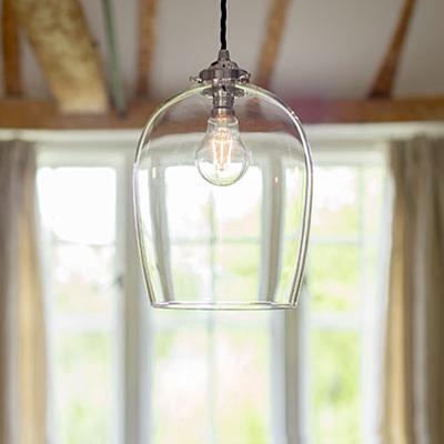 Walcot Glass Pendant Light in Nickel