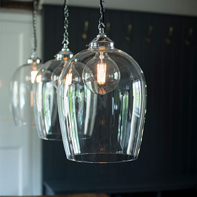 Chalford Glass Pendant Light in Nickel