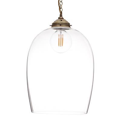 Lansdown Glass Pendant Light in Antiqued Brass