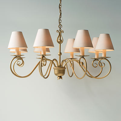 Scrolled Pendant Light in Old Gold