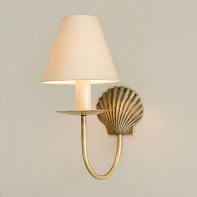 Single Shell Wall Light in Antiqued Brass