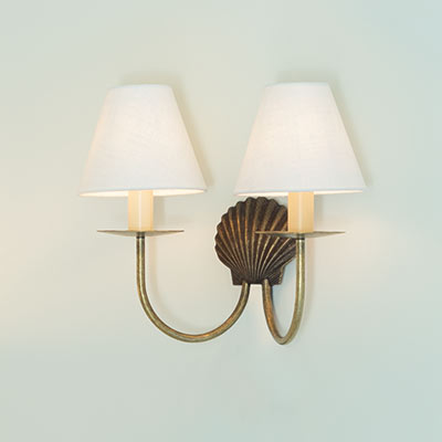 Double Shell Wall Light in Antiqued Brass