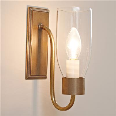Single Morston Wall Light in Antiqued Brass, Clear Glass
