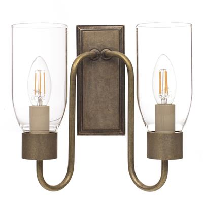 Double Morston Light in Ant Brass, Clear Glass