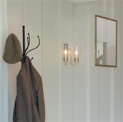 Double Morston Wall Light in Antiqued Brass, Clear Glass