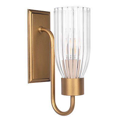 Single Morston Light in Old Gold, Fluted Glass