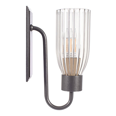 Single Morston Light in Polished, Fluted Glass