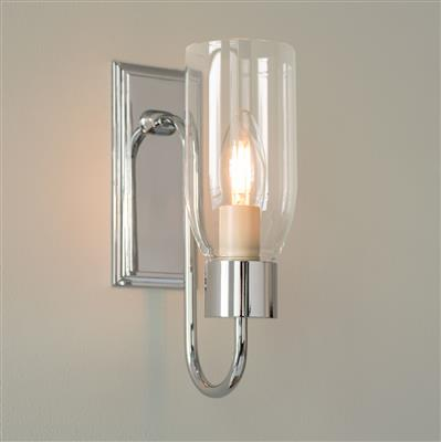 Single Morston Wall Light in Nickel with Clear Glass