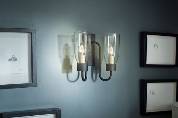 Double Morston Wall Light in Beeswax with Clear Glass