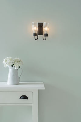 Double Morston Light in Matt Black, Fluted Glass