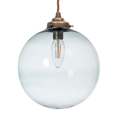 Holborn Greeny Blue Pendant in Antiqued Brass