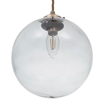 Holborn Greeny Blue Coloured Glass Pendant Light in Antiqued Brass