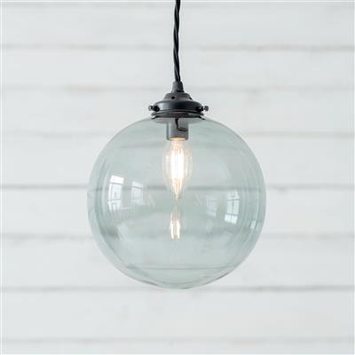Holborn Greeny Blue Coloured Glass Pendant Lightin Matt Black