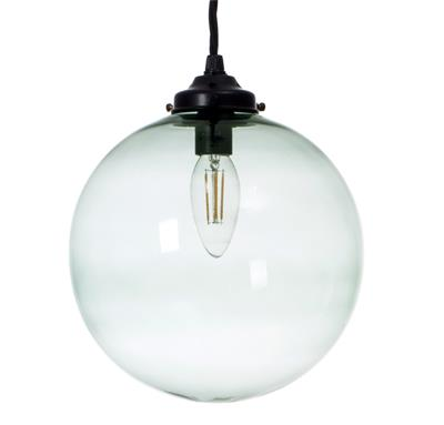 Holborn Greeny Blue Glass Pendant in Matt Black