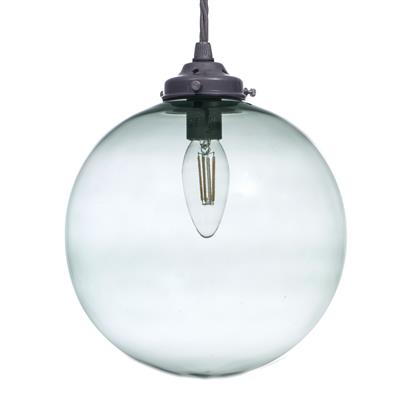 Holborn Greeny Blue Glass Pendant in Polished