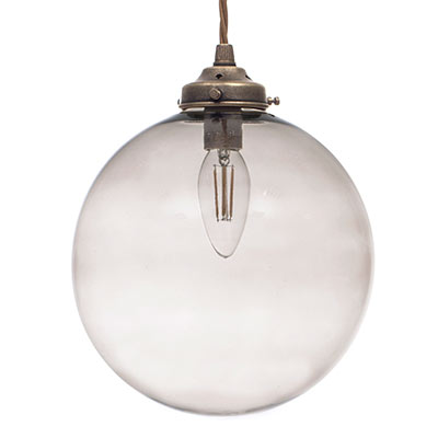 Holborn Charcoal Coloured Glass Pendant Light in Antiqued Brass